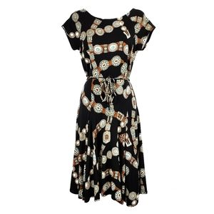 LAUREN RALPH LAUREN Concho Belt Print Dress M